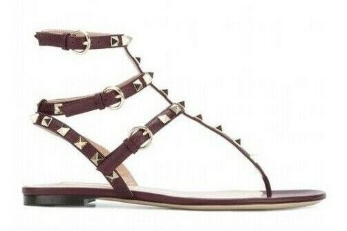 NB Valentino Rockstud Red Burgundy Leather Triple Strap Gladiator Flat Sandal 41