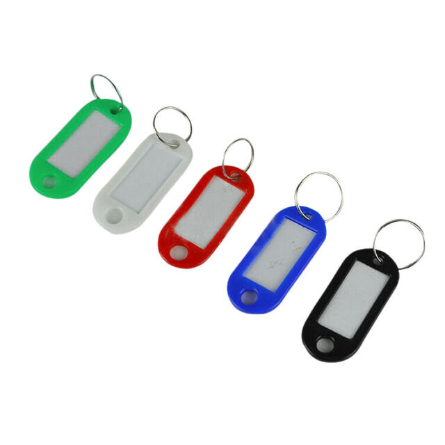 50 in 1 Assorted Color Plastic Key ID Label Name Card Tags Keychains Keyrin A2I5