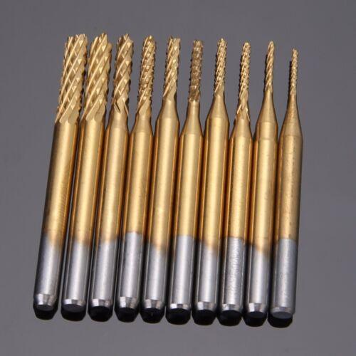 Frässtifte Set Schaftfräser Fräser Titanium Hartmetallfräser 0.8-3.175mm 10stk
