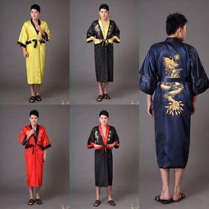 Details about gold/black Double-face Chinese silk/satin Men's Kimono Robe  Gown bathrobe S-3XL