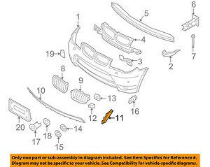 bmw oem 04 06 x3 front bumper side trim right 51113401930 ebay rh ebay com bmw e46 engine parts diagram bmw engine parts manual