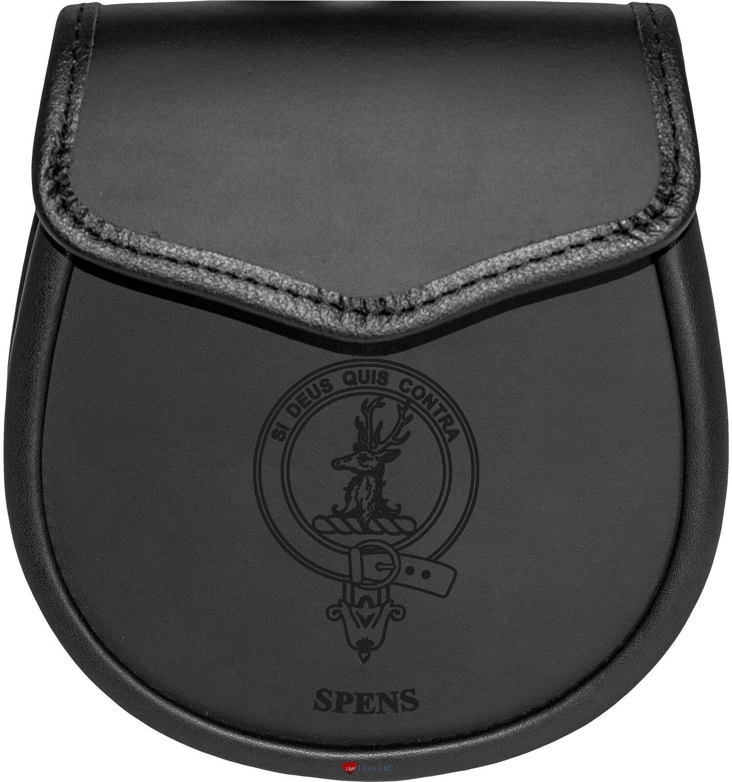 Spens Leather Day Sporran Scottish Clan Crest