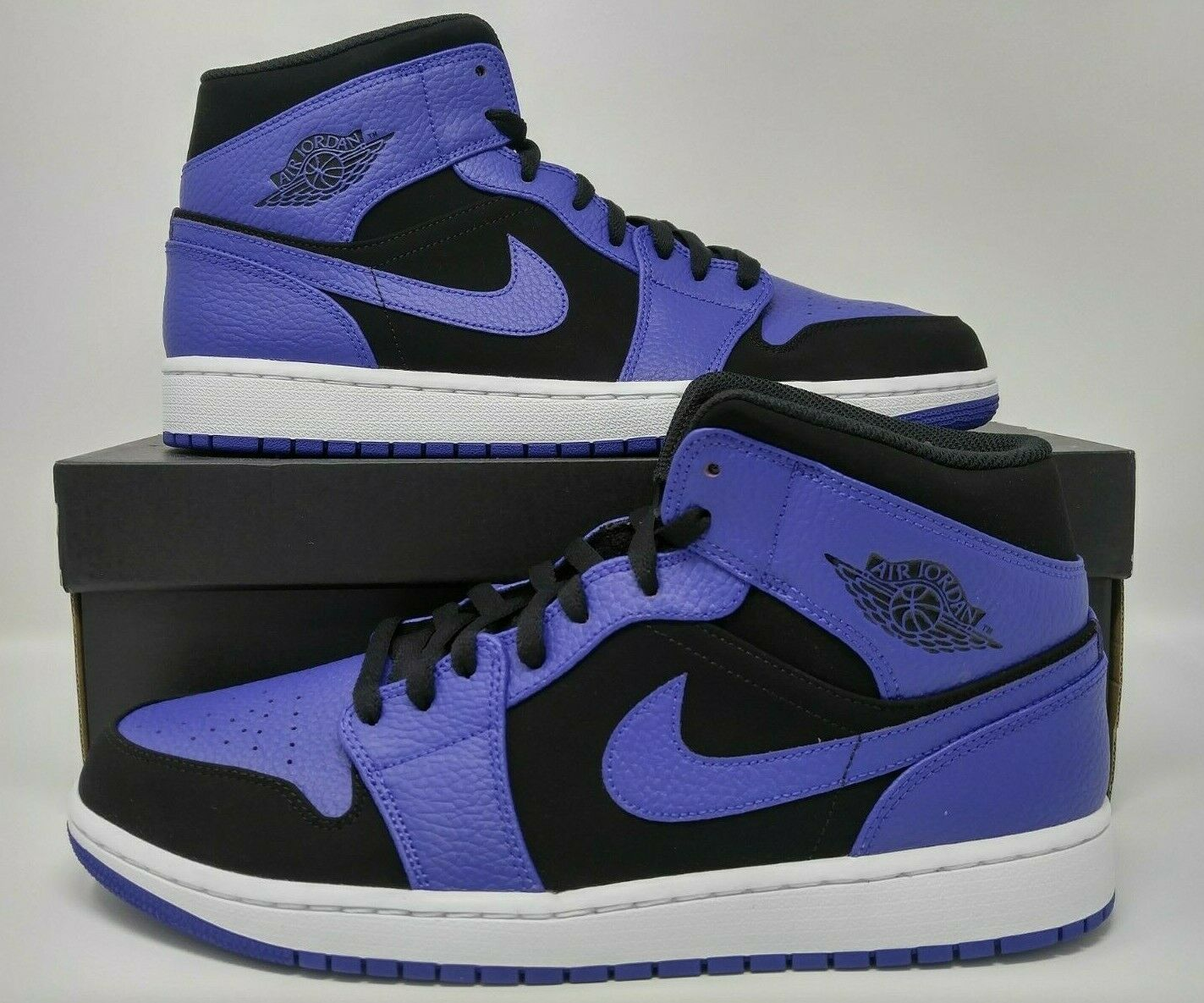 Nike Air Jordan Retro I 1 Mid Black Dark Concord White Purple Men's 554724-051