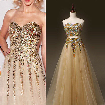 Fancy Sequins Long Formal Prom Cocktail Party Ball Gown Evening Bridesmaid Dress