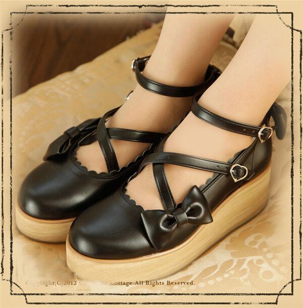Lolita Gothic Barbie Palace Retro Bowknot Platform chaussures Free Shipping