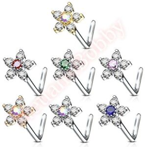 Jewelry Watches Body Piercing Jewelry 20g Cz Butterfly Nose Stud