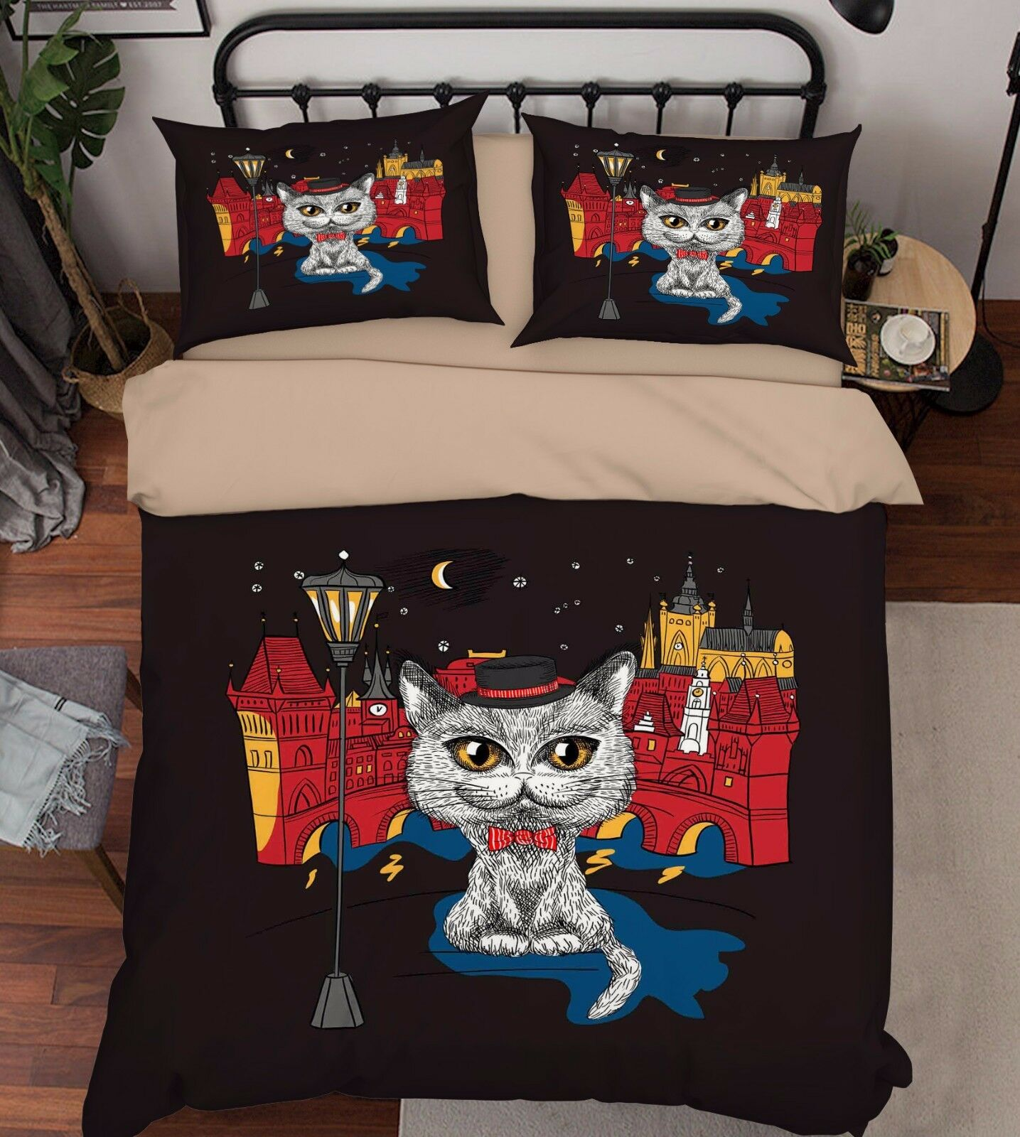 3D Cat Painted 909 Bed Pillowcases Quilt Duvet Cover Set Single Queen UK Kyra