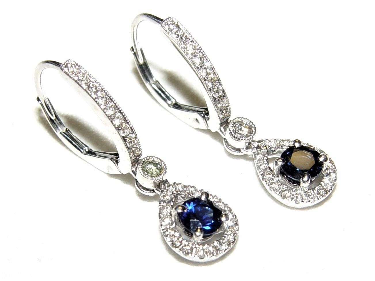 Dangling HOOP 0.86CT Sapphire 0.51CT Diamond Earrings 30MM 14K gold