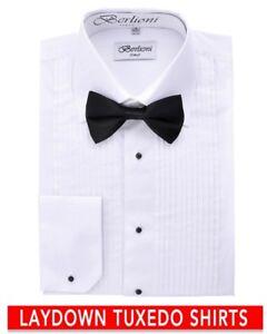 Berlioni-Italy-Men-039-s-Italian-Tuxedo-Laydown-Collar-W-Bow-tie-Dress-Shirt-White