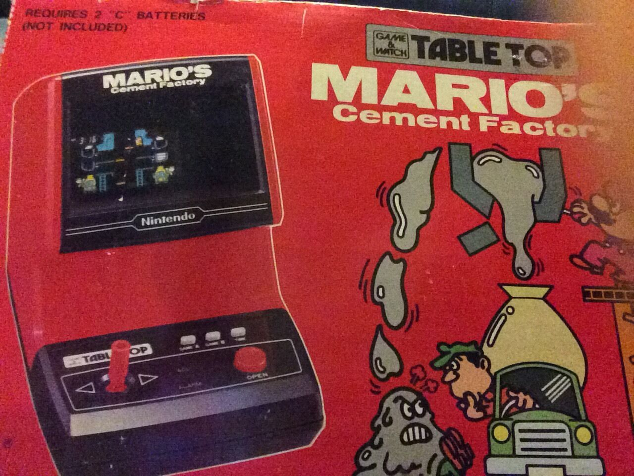 VINTAGE Mario's Cement Factory Tabletop Game & Watch, Amazing Condition, In Box