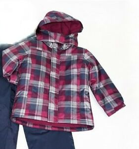 b899d14f2 Details about George Kids Girls Red Gray Plaid Checks Winter Puffer  Outerwear Jacket Sz 6 NWT