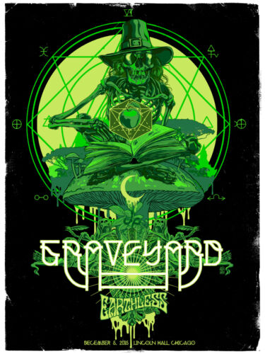 GRAVEYARD Chicago 2015 silkscreened poster by Vance Kelly EARTHLESS