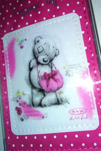 TATTY TEDDY LUGGAGE LABEL Deep Pink Sketchbook Pale Stars FABRIC SUITCASE TAG