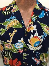 Hilo Hattie Mens S Navy Blue Rayon Hawaiian Shirt Pineapple Laulau Poke Poi