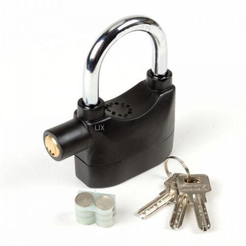 Siren Alarm Lock Security Anti-Theft Alarmed Padlock Motor Bike Bicycle Black