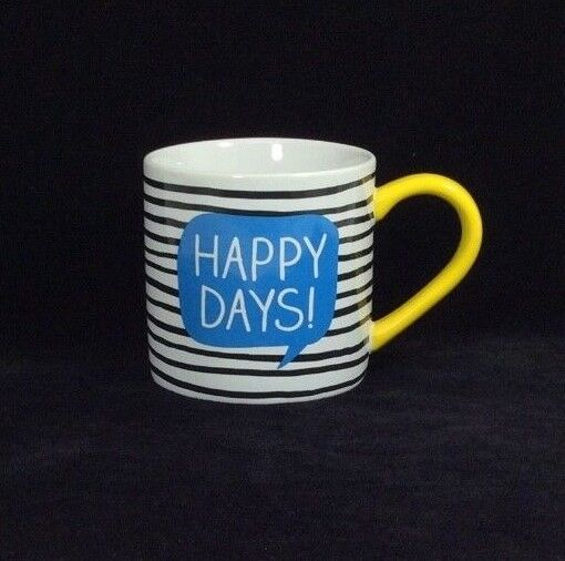 Happy Jackson UK Happy Days Mug Wild Wolf Stripes Yellow Handle Yeah Msg Inside