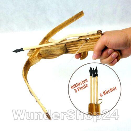 Armbrust Set Bambus Holzarmbrust Bogen mit Gummi Pfeile /& Köcher Neu