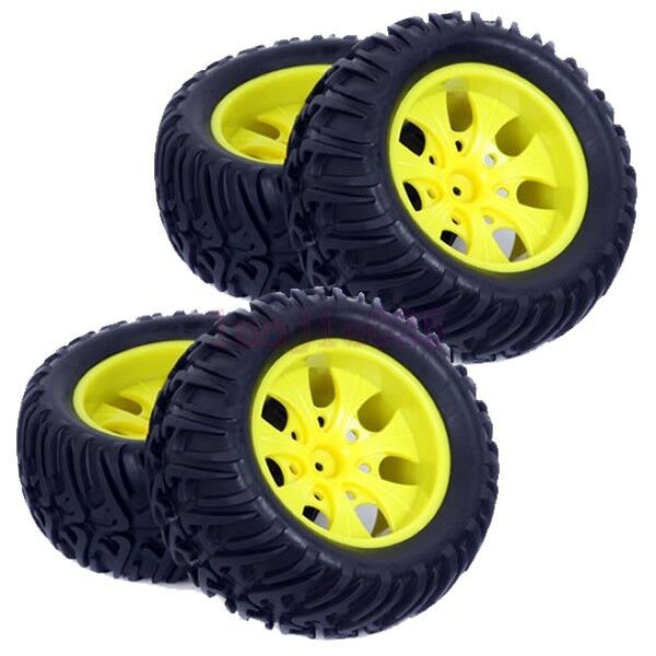 4PCS RC 1:10 Off-Road Monster Truck Bigfoot Tyres Tires & Wheel Rim Yellow 88002