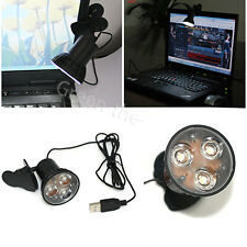 Flexible 3 LED Clip On Spot USB Light Lamp For Laptop PC Notebook Super Bright