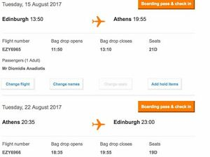 EasyJet-Flight-Edinburgh-ATHENS-RETURN-15-AUG-22-AUG