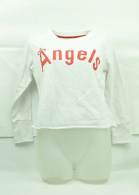 Gut Ausgebildete Mlb California Los Angeles Angels Weißes Crop Sweatshirt Langarm T-shirt Exzellente QualitäT Baseball & Softball Sport
