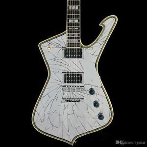 Good-Quality-Mirror-Cracks-Black-Electric-Guitar-Abalone-2-Pickups-6-Strings
