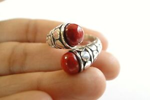 Red-Coral-Statement-2-Stone-925-Sterling-Silver-Wrap-Ring-6-7-8-9