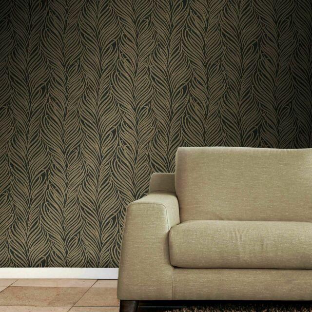 Gold Floral Novelty Textured Wallpaper