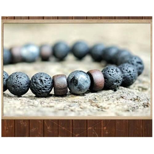 Para hombres Para mujeres 8mm Pulsera Lava Rock Elástico Pulsera De Perlas De Piedra Natural Yoga A