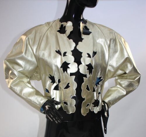 Rare Fong Leng cut out Metallic leather bomber jac