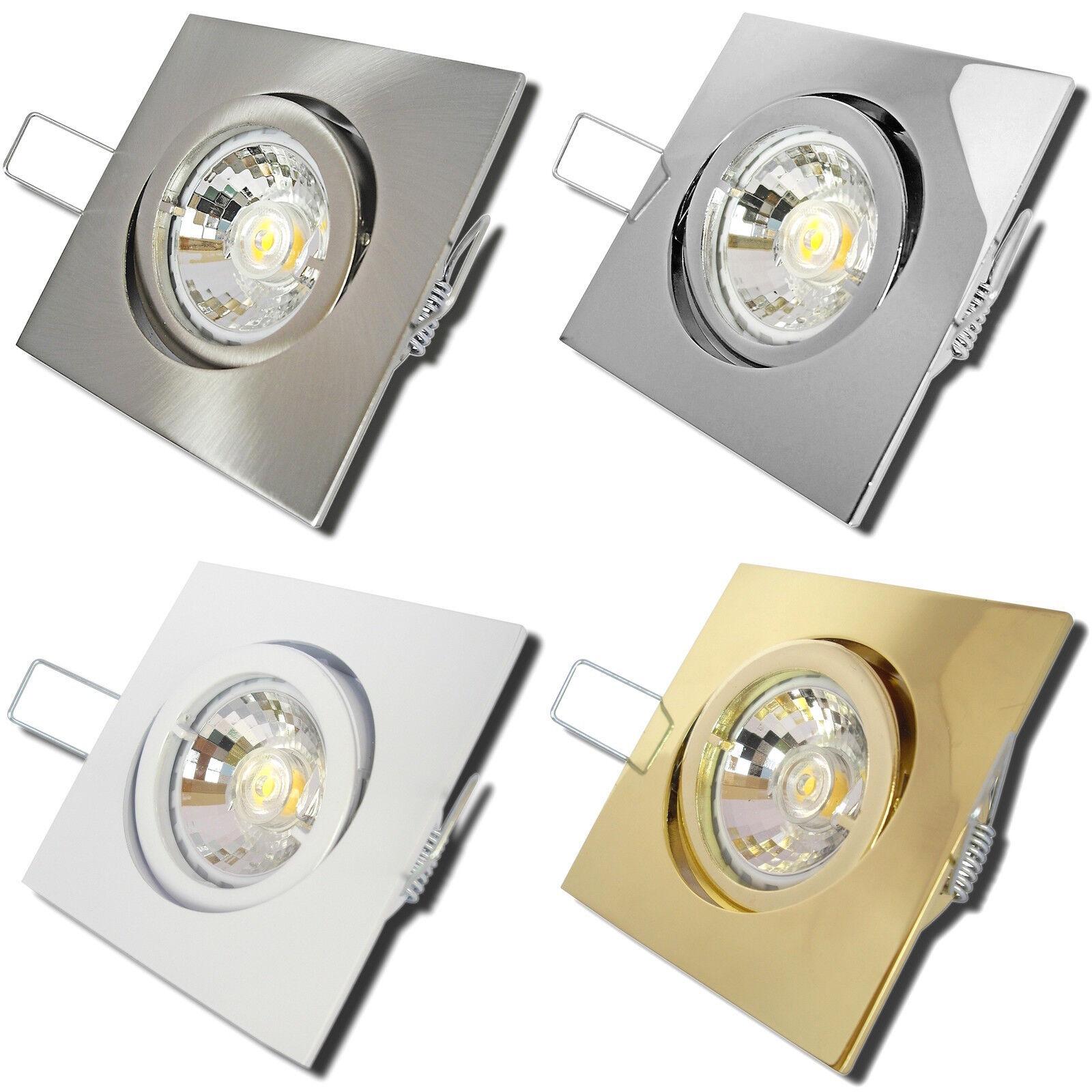 1-10er Sets Power LED Einbaustrahler Square 230Volt 5W=50W Einbauleuchten 400Ln
