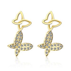 Noble-Elegant-925-Sterling-Silver-Yellow-Gold-Zircon-Butterfly-Ear-Stud-Earrings