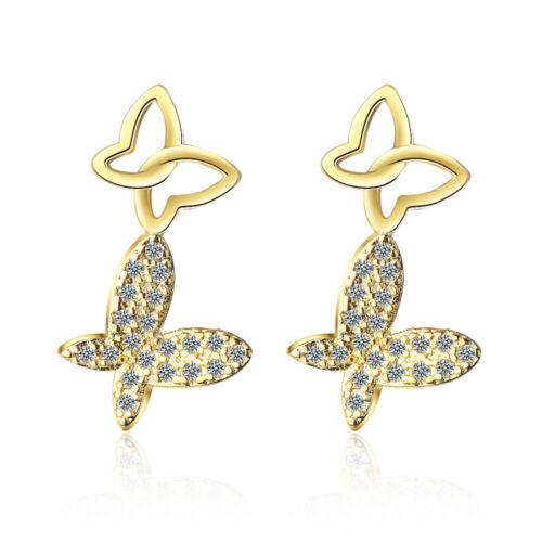 Women/'s Elegant 925 Sterling Silver Natural Zircon Butterfly Ear Stud Earrings