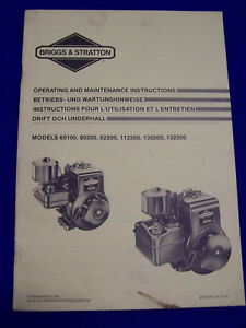 Original d'exploitation et maintenance remarques Briggs & Stratton 80200- etc. - RARE-se Briggs & Stratton 80200 usw. - Raritätafficher le titre d`origine