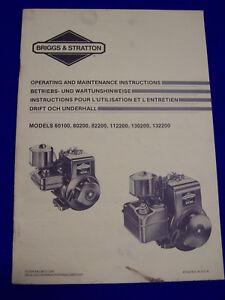Audacieux Original D'exploitation Et Maintenance Remarques Briggs & Stratton 80200, Etc. - Rare-se Briggs & Stratton 80200 Usw. - Rarität Fr-fr Afficher Le Titre D'origine
