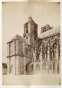 France-La-Cathedrale-de-Bourges-Vintage-albumen-print-Tirage-albumine