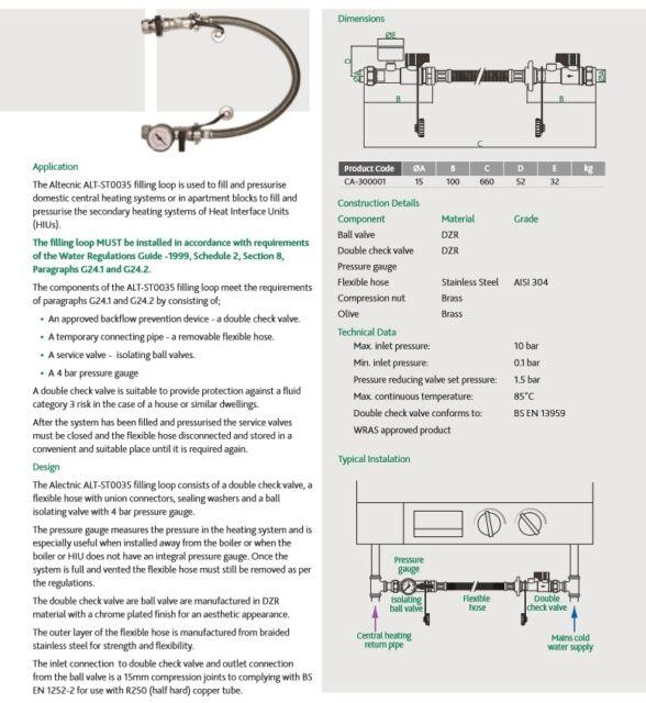 Altecnic Remote Filling Loop Complete With Pressure Gauge   eBay