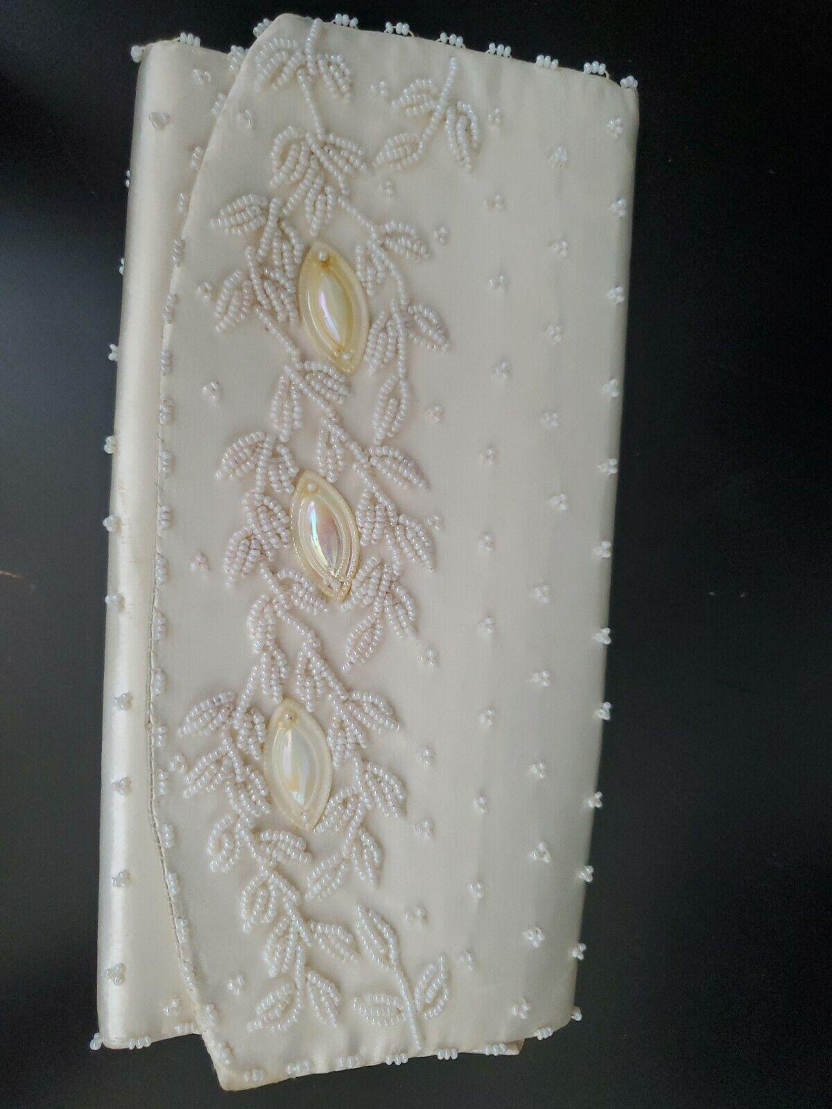 Vintage Beaded Clutch Purse 50s Hong Kong Hand Bag White Beads GUC