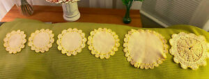 Set Lot 6 Vintage Hand Crocheted Yellow White Ecru Doilies Trivets Laundered