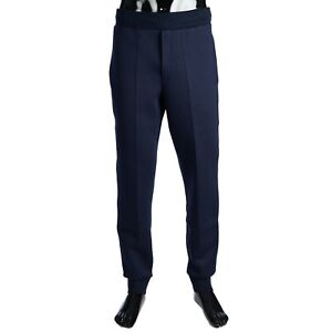 BERLUTI 1010$ Jogging Trousers With Leather Band In Marine Blue