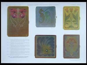 ART-NOUVEAU-CIGARETTE-CASES-1908-LITHOGRAPH-JEHAN-RAYMOND-LEATHER