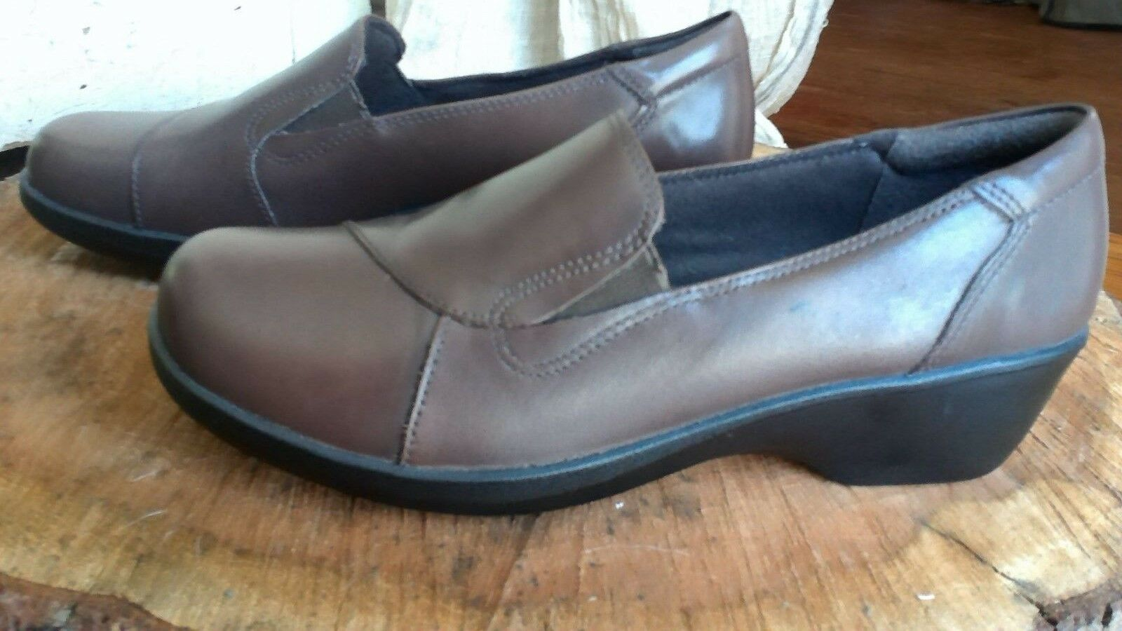 Clarks Collection Esha Haven Brown brown Leather Slip On shoes Size 9M