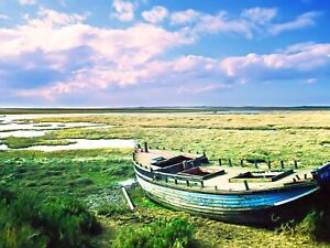 'Sailing No-more' Canvas Wall Art Print Abandoned on Blakeney Marshes