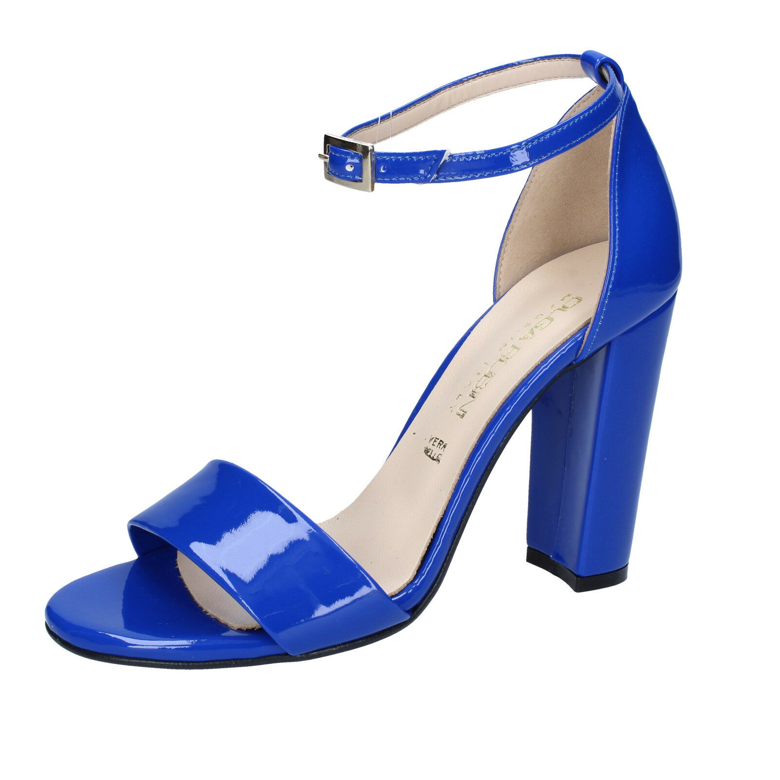 Scarpe donna OLGA RUBINI 38 EU sandali blu vernice BY298-E