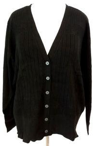 Lane-Bryant-Cardigan-Sweater-Womens-Plus-Size-Black-Ribbed-V-Neck-Honeycomb