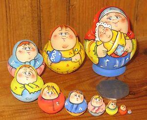 Matryoshka-MATT-Russian-Nesting-Dolls-MINIATURE-tiny-family-10-Baby-Latisheva
