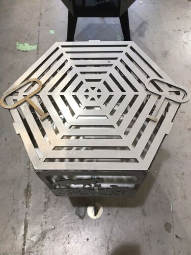 Stag animal hexagonal fire pit with grill**