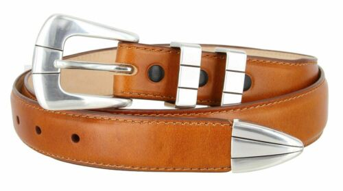 Nicolo Men/'s Smooth Saddle Tan Leather Dress Belt with Silver Plated Buckle Set