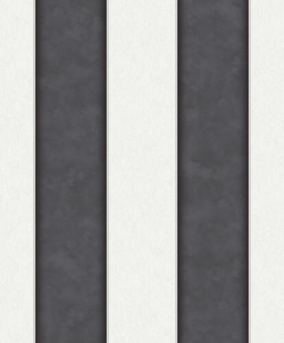 Vlies Tapete Streifen Muster schwarz weiss mit Perlmutt Schimmer velvet