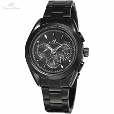 KS Black Automatic Day Date 6 Hands Mechanical Stainless Steel Watch